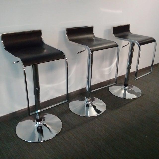 Modern Chrome & Black Bar Stools - Set of 3 - Image 3 of 7