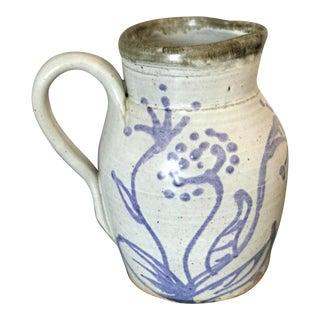 Vintage Mid-Century Studio Pottery Earthenware Blue & White Pitcher