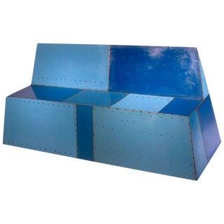 Blue Reclaimed Steel Bunker Bench