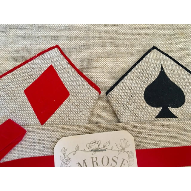 Vintage Game Table Size Tablecloth & Napkins - Set of 5 - Image 4 of 6