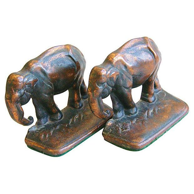 Vintage 1930s Bronze Elephant Bookends - A Pair - Image 5 of 5