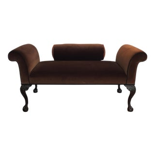 Scroll Arm Brown Velvet Bench