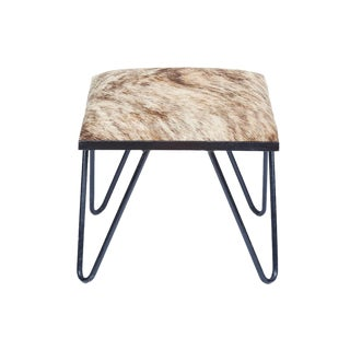 Cowhide Iron Hairpin Footstool
