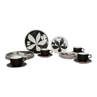 Vintage Vera Neuman Black & White Dinnerware - 16 Pieces