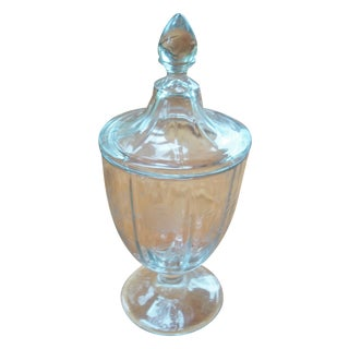 Etched Glass Apothecary Jar With Lid