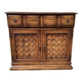 Vintage Quatrefoil Wood Server Bar Cart