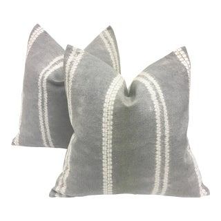 Gray Shibori Asian Hill Tribe Pillows - A Pair
