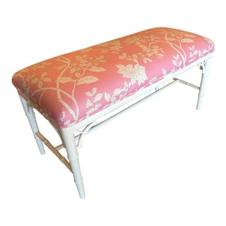 Faux Bamboo Chinese Chippendale Pink Lacquered Bench