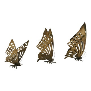 Brass Wall Mounting Butterflies- Set of 3