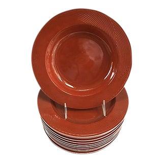Jack Lenor Larsen for Dansk Cranberry Porcelain Bamboo Dinner Bowls - Set of 12