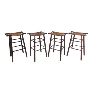 Charlotte Perriand Style Rush Seat Bar Stools - Set of 4