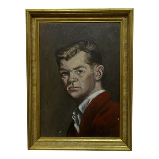 "1960s Original Framed Painting on Board ""Self Portrait"" by Frederick McDuff"