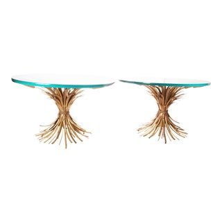 Vintage Hollywood Regency Wheat Sheaf Glass Top Side Tables - A Pair
