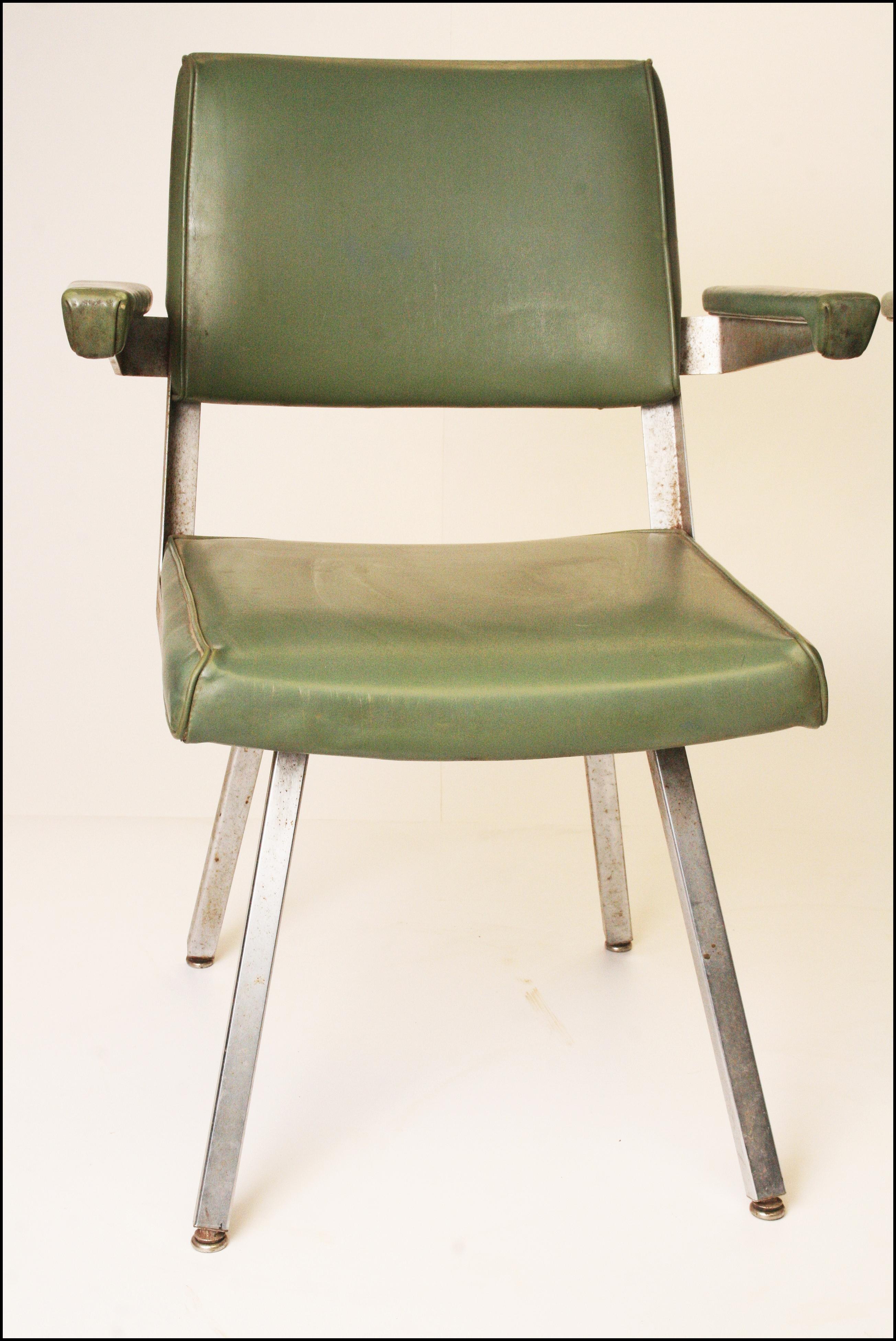 Harter Mid Century Modern Industrial Office Chairs  A Pair   Image 3 Of 11