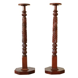 19th Century Carved Mahogany Plant Stands - a Pair