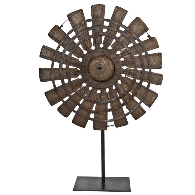 Vintage Wood Loom Wheel on Recycled Iron Stand - Image 1 of 3