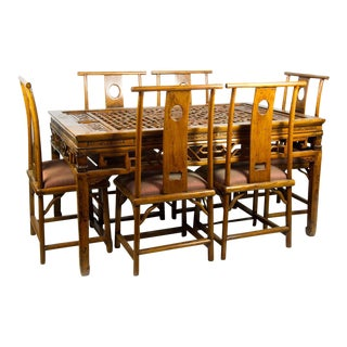 19th Century Chinese Qing Dynasty Dining Set- 7 Pieces
