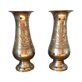 Vintage Silver Metal Floral Motif Vases - Pair