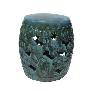 Chinese Green Blue Round Cloud Pattern Clay Stool