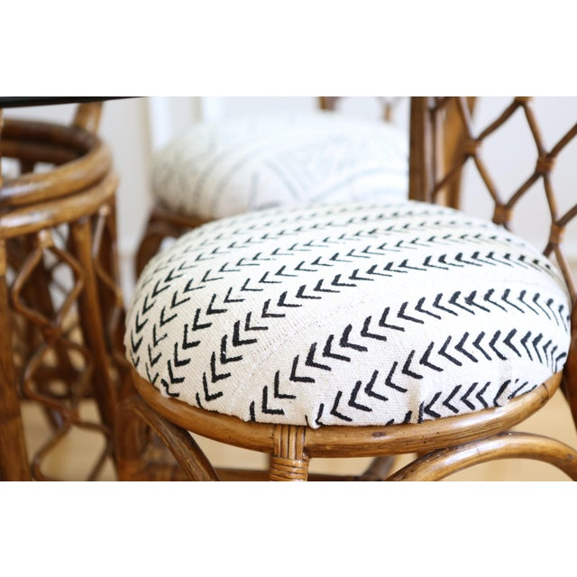 Bamboo Dining Table with Mudcloth Chairs - Set of 5 - Image 4 of 11