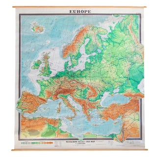 Giant Vintage Pull Down Map of Europe