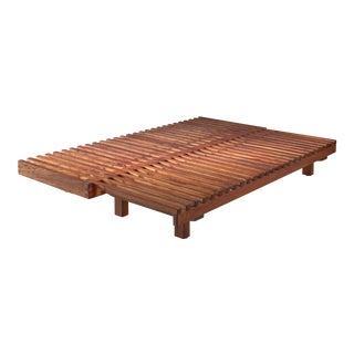 Pierre Chapo convertible elm daybed, France, 1960s