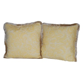 Yellow Fortuny Pillows With Fringe - A Pair