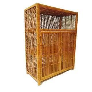 Vintage 1970s Rattan Storage Cabinet