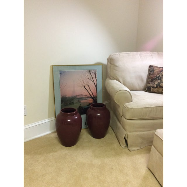 Decorative Maroon Urns - A Pair - Image 3 of 7