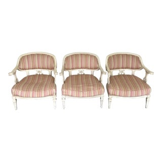 Dorothy Draper Style Hollywood Regency Bergere Chairs - Set of 3