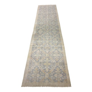 "Vintage Distressed Turkish Oushak Runner - 2'7""x11'1"""
