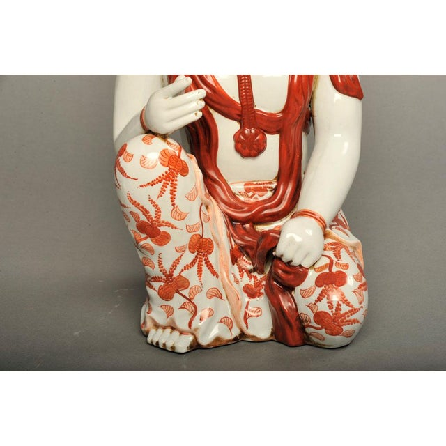 Japanese Hand-Painted Porcelain Bodhisattva Sculpture - Image 4 of 8