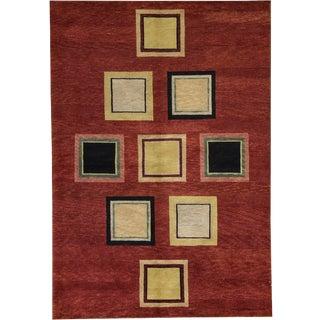 Contemporary Tibetan Hand Woven Rug - 6′4″ × 9′1″