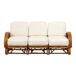 Stellar Restored Vintage Curvilinear Rattan Sofa