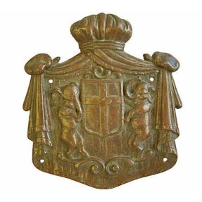 Antique Bronze Heraldry Shield with Elephants