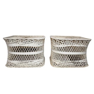 Russell Woodard Spun Fiber Side Patio Tables - A Pair