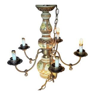 Mid-Century Hand Painted Ceramic Glazed & Brass 5-Arm Hanging Lamp