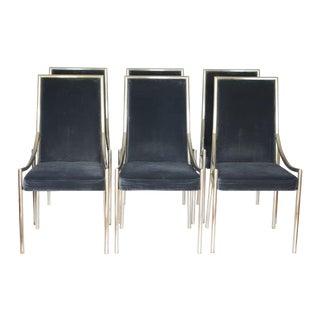 Black Velvet & Chrome Dining Chairs - Set of 6