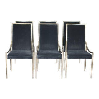 Black Velvet & Chrome Dining Chairs - Set of 6