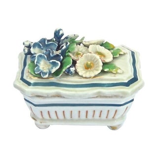 Antique Staffordshire Floral Trinket Box