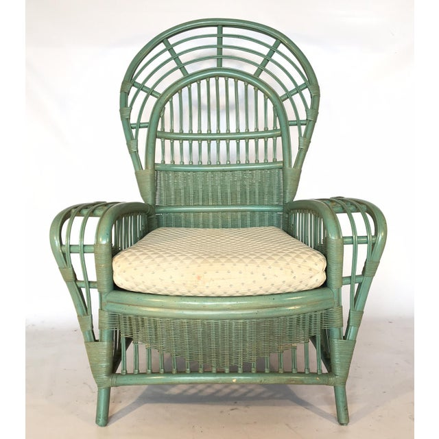 Ficks Reed Rattan Bamboo Fan Back Arm Chair - Image 4 of 11