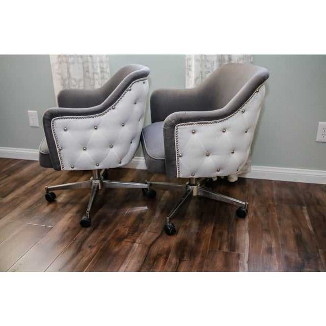 Image of Reupholstered Mid-Century Office Chairs - A Pair