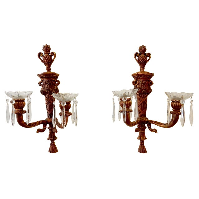 French Wood Candle Holder Sconces - Pair - Image 1 of 11