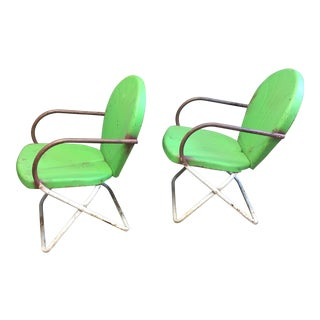 Vintage Metal Green & White Patio Chairs - A Pair