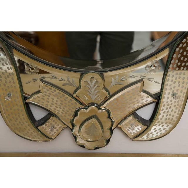 Venetian Etched Ribbon Design Wall Mirror - Image 7 of 9