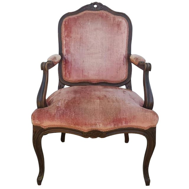Image of French Louis XV Style Coral Velvet Armchair