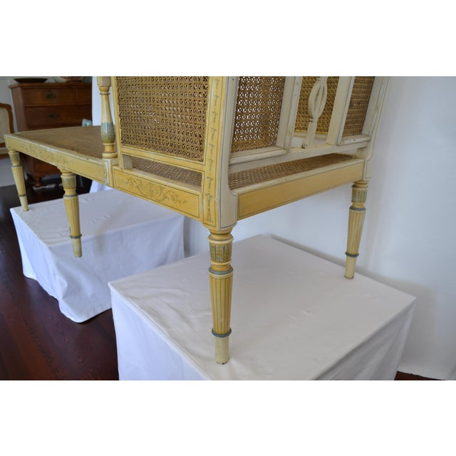 Antique Adams Painted Neoclassical Caned Chaise - Image 7 of 11