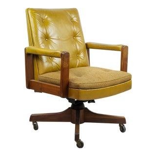1970s Gunlocke Co. Yellow Swivel Office Chair