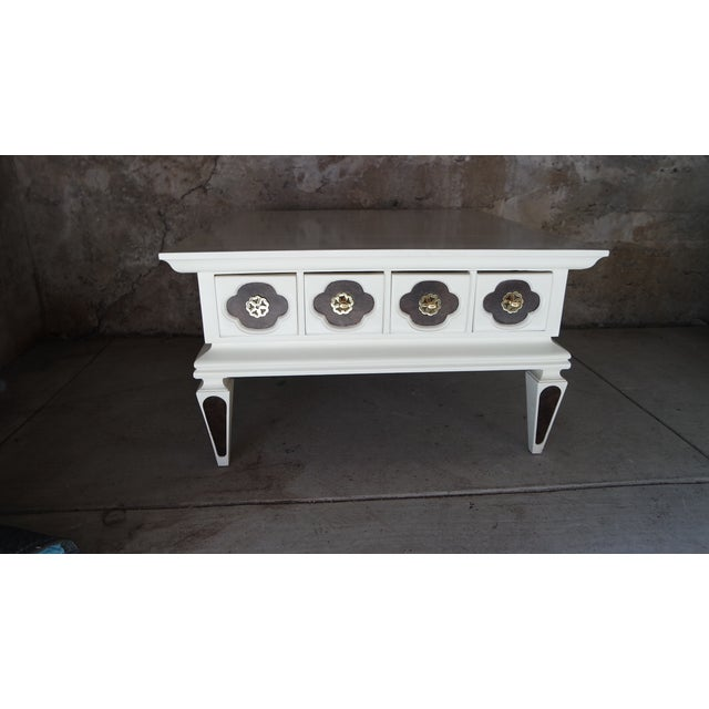 Image of White Vintage Regency Coffee Table with Drawers