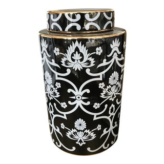 Floral Black & White Jar